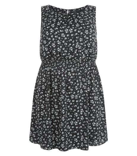 Curves Black Floral Print Elasticated Waist Dress  | New Look