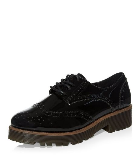 Teens Black Patent Chunky Brogues | New Look