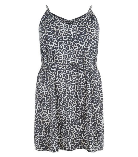 Curves Black Animal Print Slip Dress | New Look