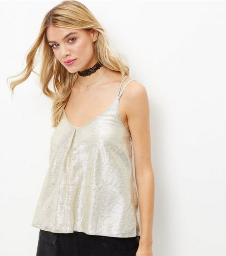 Gold Metallic Pleated V Neck Cami  | New Look