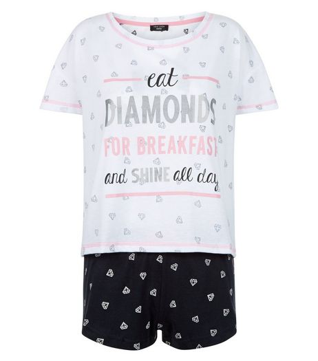 Petite Black Diamand Print Pyjama Set | New Look