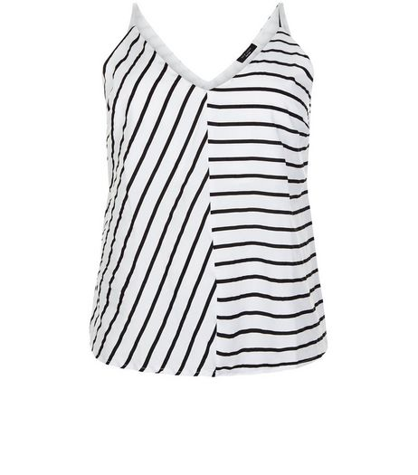 Curves White Stripe V Neck Cami | New Look