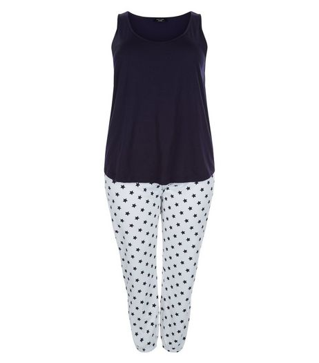 Curves Navy Star Print Pyjama Set | New Look