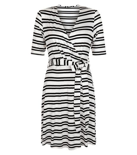White Stripe Wrap Tie Waist 1/2 Sleeve Dress  | New Look