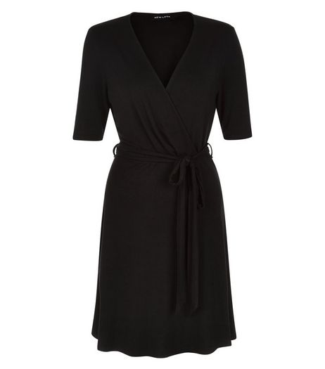 Black Wrap Front 1/2 Sleeve Mini Dress  | New Look