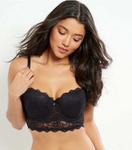 Black Lace Layered Longline Bra | New Look