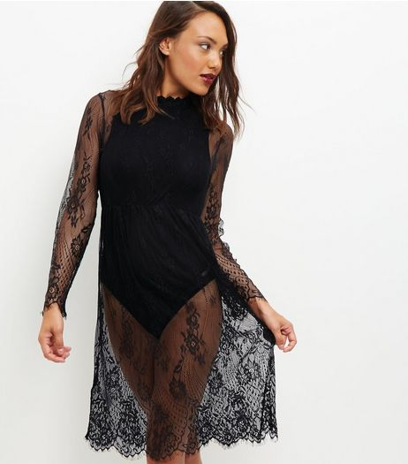 Black Sheer Lace Long Sleeve Midi Dress  | New Look