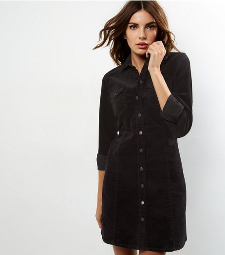 Black Cord Long Sleeve Shirt Dress | New Look