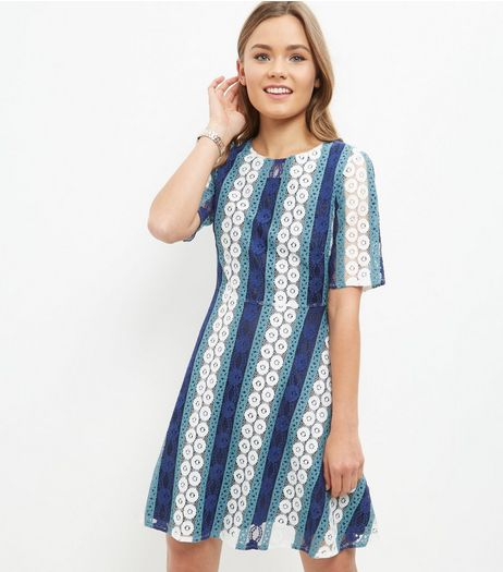 Blue Circle Stripe Lace Skater Dress | New Look