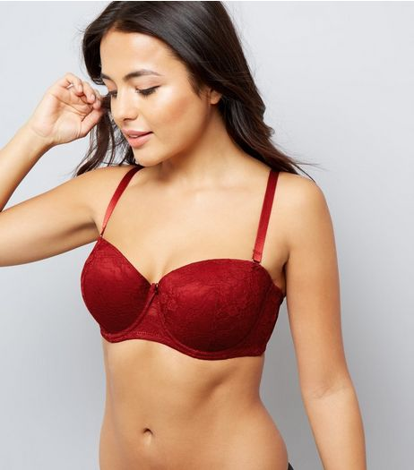 Red DD+ Lace Strapless Bra | New Look