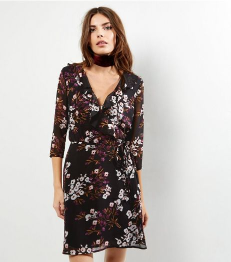 Black Floral Chiffon Wrap Front Dress | New Look