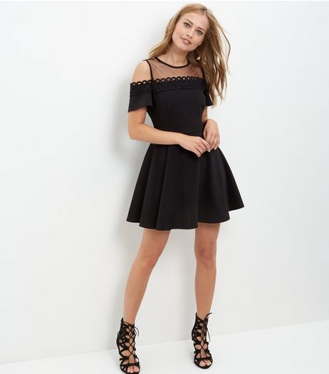 Black Mesh Panel Cold Shoulder Skater Dress  | New Look