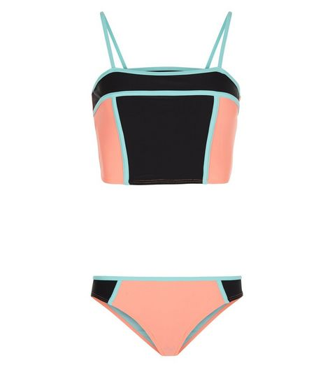 Teens Black Colour Block Tankini Set | New Look