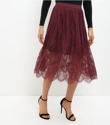 Burgundy Sheer Lace Midi Skirt  | New Look