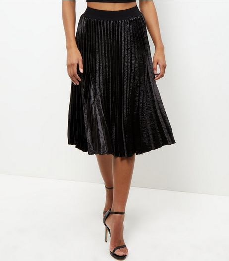 Black Sateen Pleated Midi Skirt | New Look