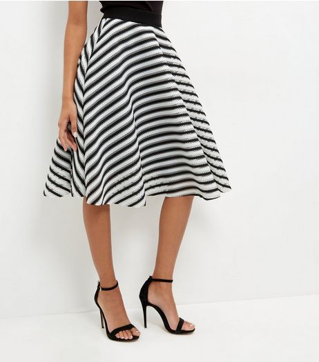 Monochrome Mesh Stripe Skater Skirt  | New Look
