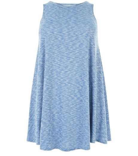 Curves Pale Blue Ribbed Swing Dress | New Look