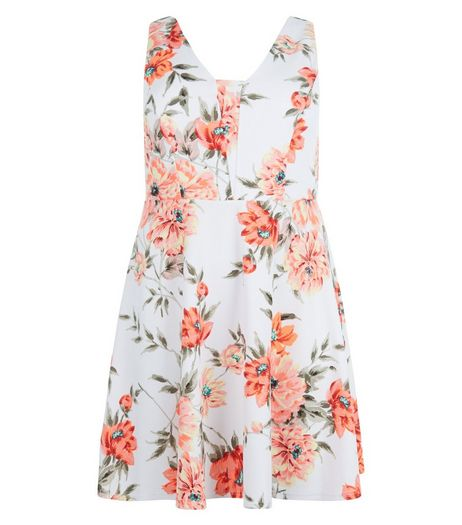 Curves White Floral Print Midi Dress | New Look
