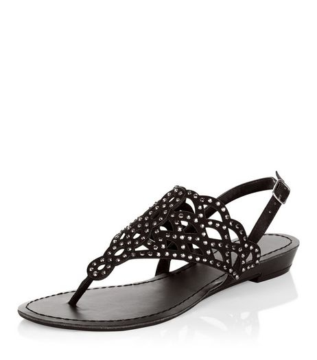 Black Embellished Laser Cut Out Sandals  | New Look