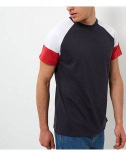 Navy Colour Block Raglan T-Shirt | New Look