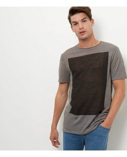 Grey Colour Block Box T-Shirt  | New Look