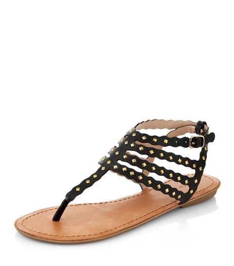 Black Metal Studded Strappy Sandals  | New Look