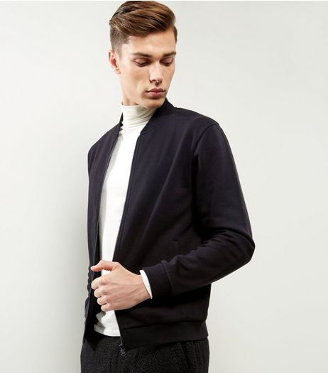 Black Cotton Mix Jersey Bomber Jacket  | New Look