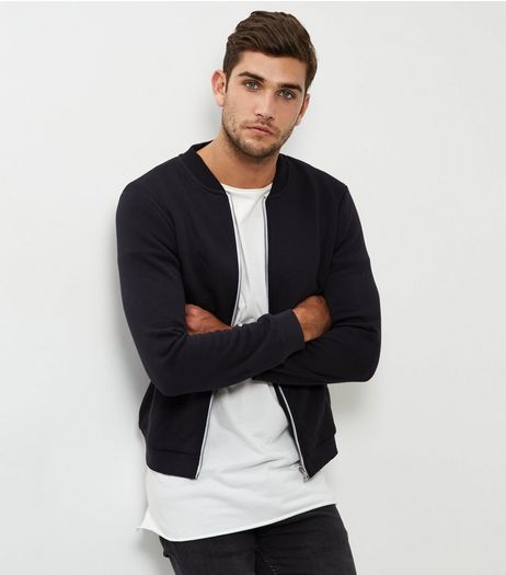 Black Jersey Bomber Jacket | New Look