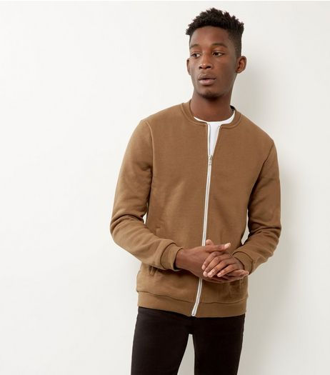 Stone Cotton Mix Jersey Bomber Jacket | New Look