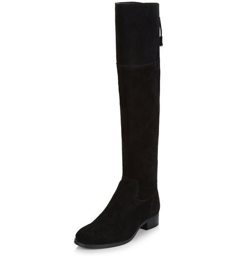 Black Suede Tie Back Knee High Boots  | New Look