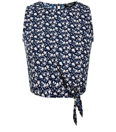 Teens Blue Ditsy Floral Tie Front Shell Top | New Look