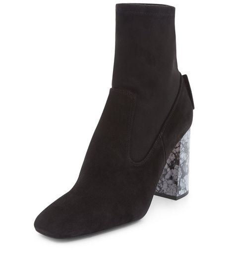 Black Premium Leather Marble Block Heel Boots  | New Look