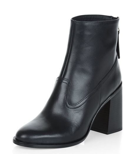 Black Premium Leather Flared Block Heel Boots  | New Look