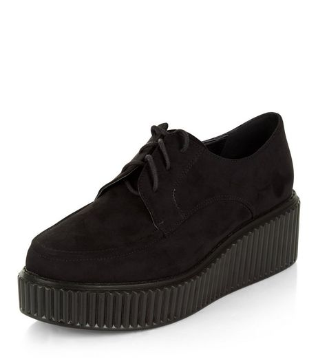 Wide Fit Black Suedette Creepers  | New Look