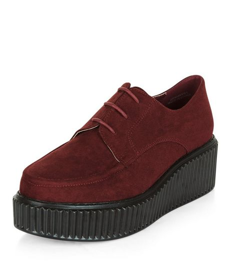 Wide Fit Dark Red Suedette Creepers  | New Look