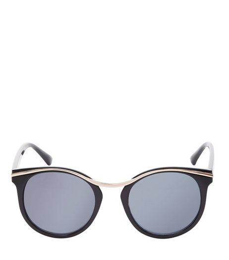 Black Contrast Metal Trim Sunglasses  | New Look