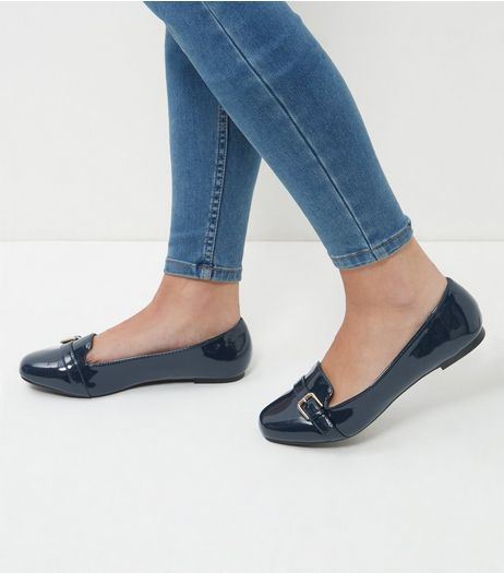 Wide Fit Navy Patent Mary Jane Pumps  | New Look