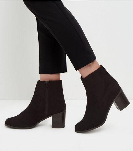 Wide Fit Black Comfort Suedette Block Heels  | New Look