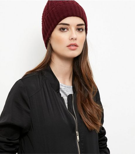 Burgundy Cable Knit Beanie Hat | New Look