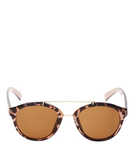 Brown Animal Print Round Sunglasses | New Look