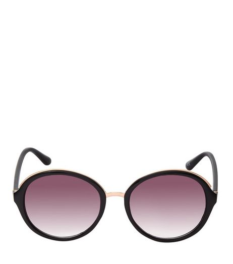 Black Metal Trim Round Sunglasses | New Look