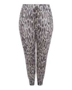 Curves Grey Leopard Print Lounge Trousers  | New Look