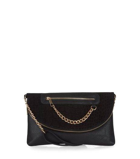 Black Chain Zip Clutch | New Look