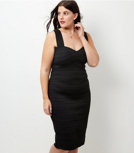 Curves Black Bandage Bodycon Dress | New Look