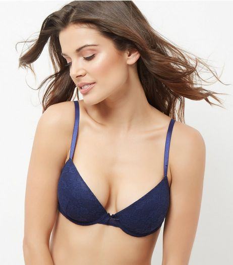 Navy Lace T-Shirt Bra | New Look