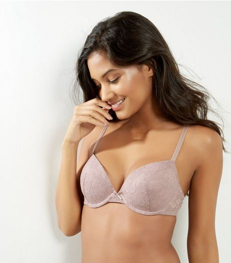 Light Purple Lace T-Shirt Bra | New Look
