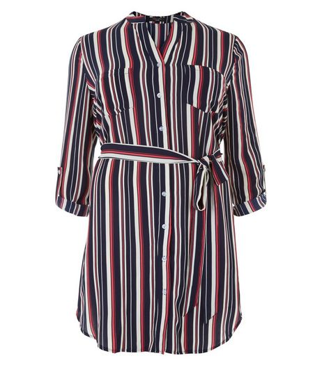 Curves Blue Stripe Tie Waist Shirt Dress | New Look