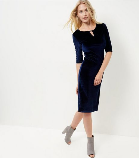 Blue Vanilla Navy Keyhole Velvet Midi Dress | New Look