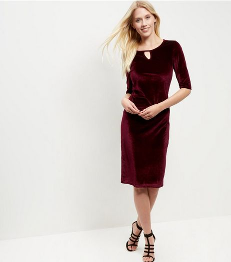 Blue Vanilla Dark Red Velvet Keyhole Midi Dress | New Look