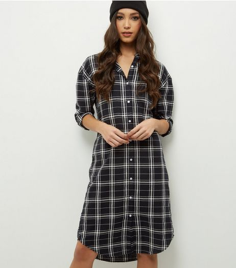 Blue Vanilla Black Check Shirt Dress | New Look